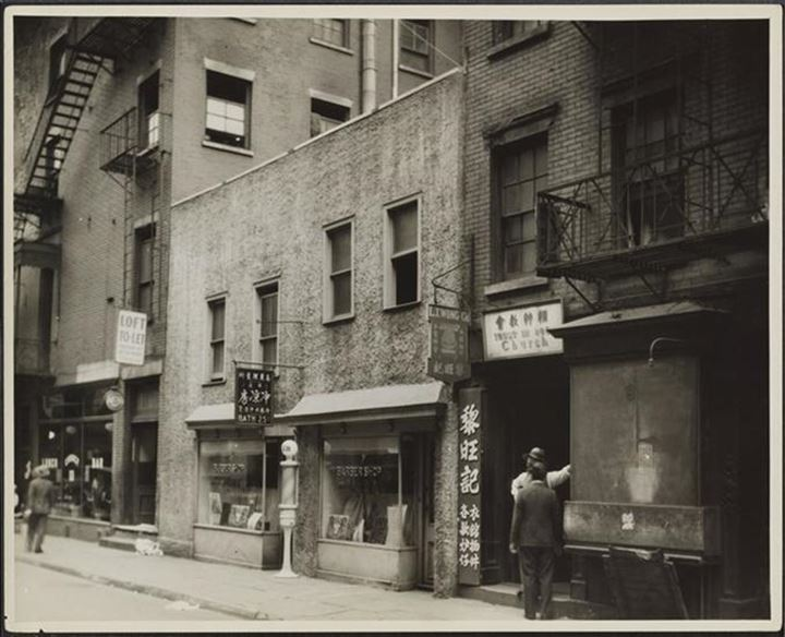 3-9 Pell Street, 1932 - L.T. Wong Co. and the Trust in God Church are visible at no. 9.