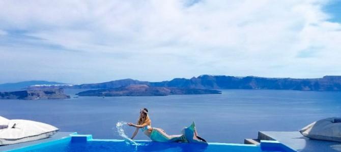 在Santorini 出現閃閃發亮的美人魚